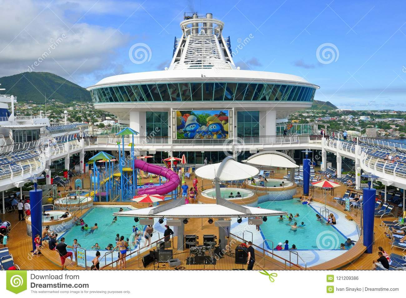 adventure of the seas cruise ship pool deck editorial photo image of deck maritime 121209386