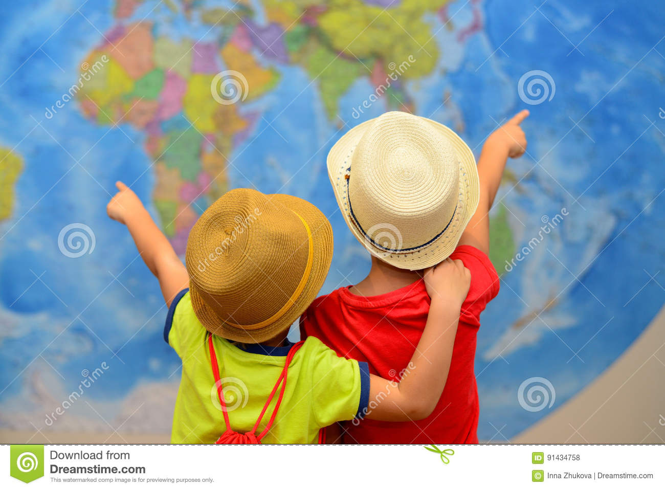 Adventure and travel concept. Happy kids are dreaming about travel, vacation.