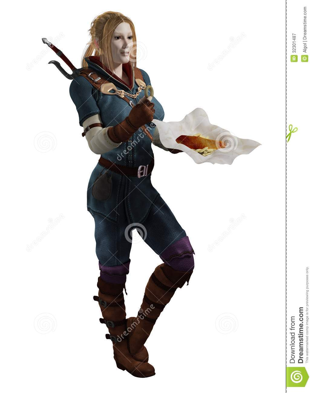 Female fantasy adventurer having a meal break of fish and chips, 3d ...