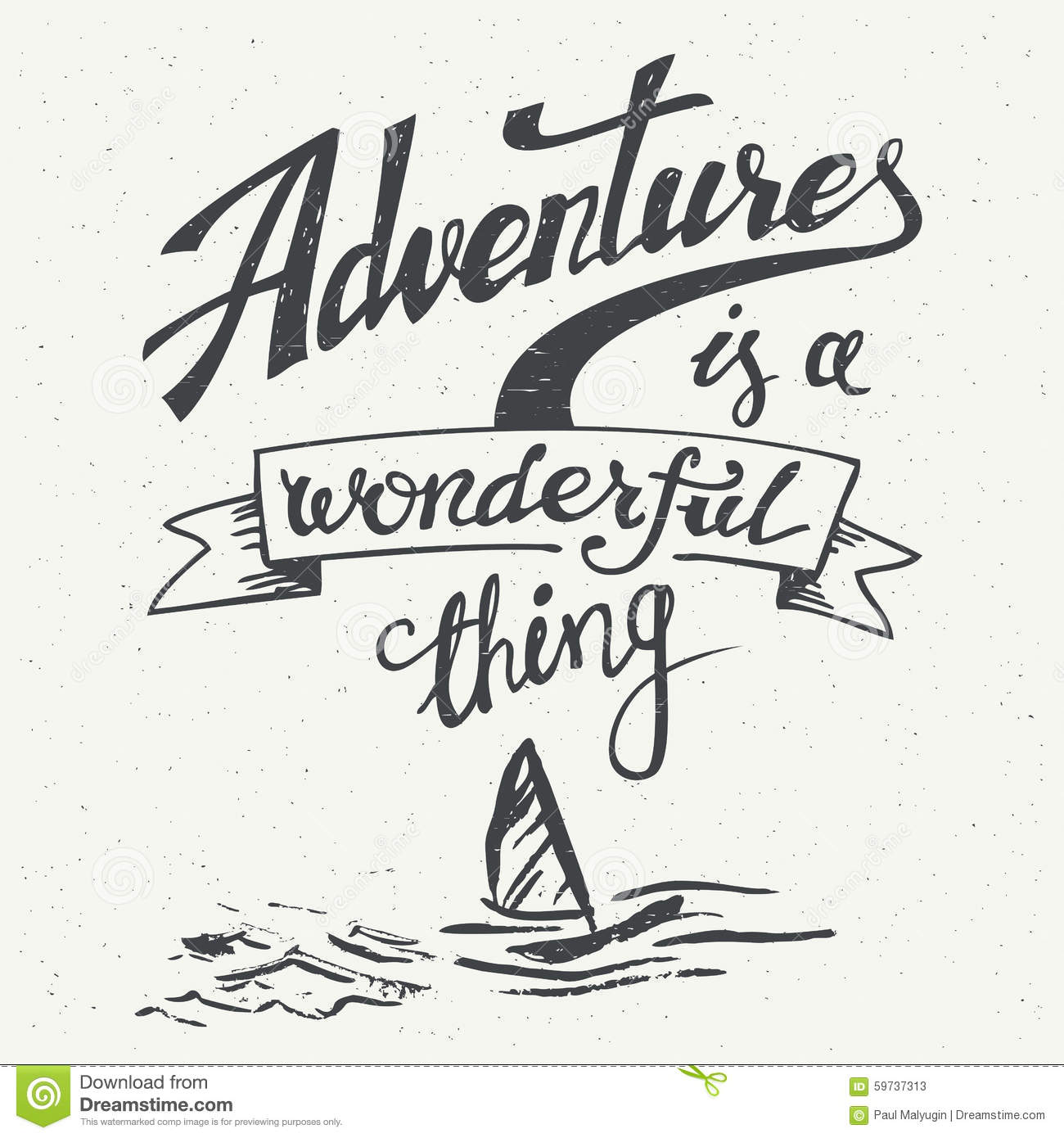 Adventures Is A Wonderful Thing Vintage Poster Stock Vector