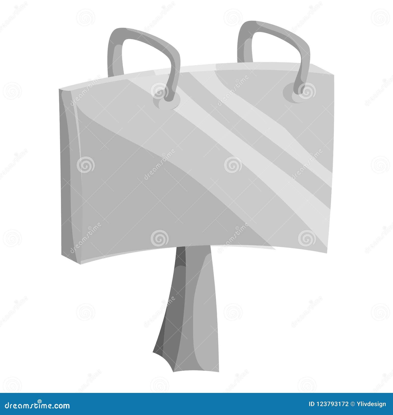 Adverteer aanplakbordpictogram, zwarte zwart-wit stijl