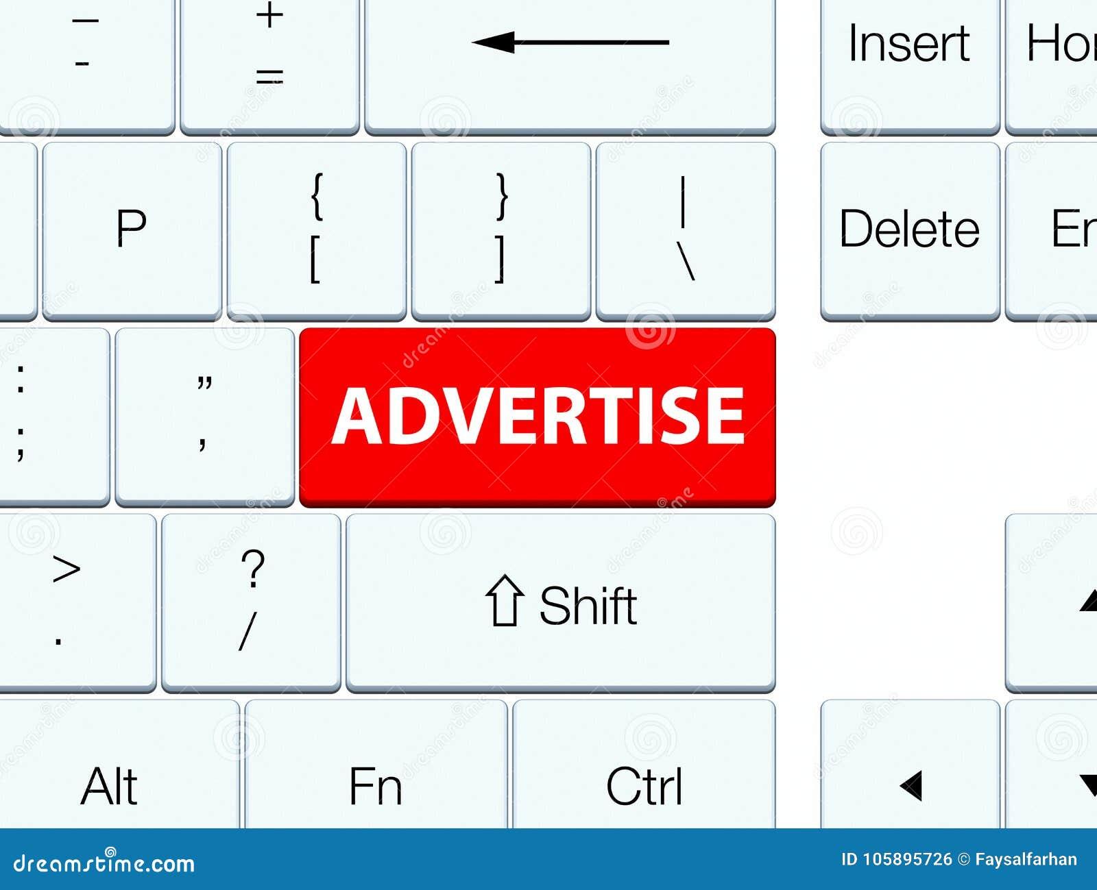 Adverteer rode toetsenbordknoop