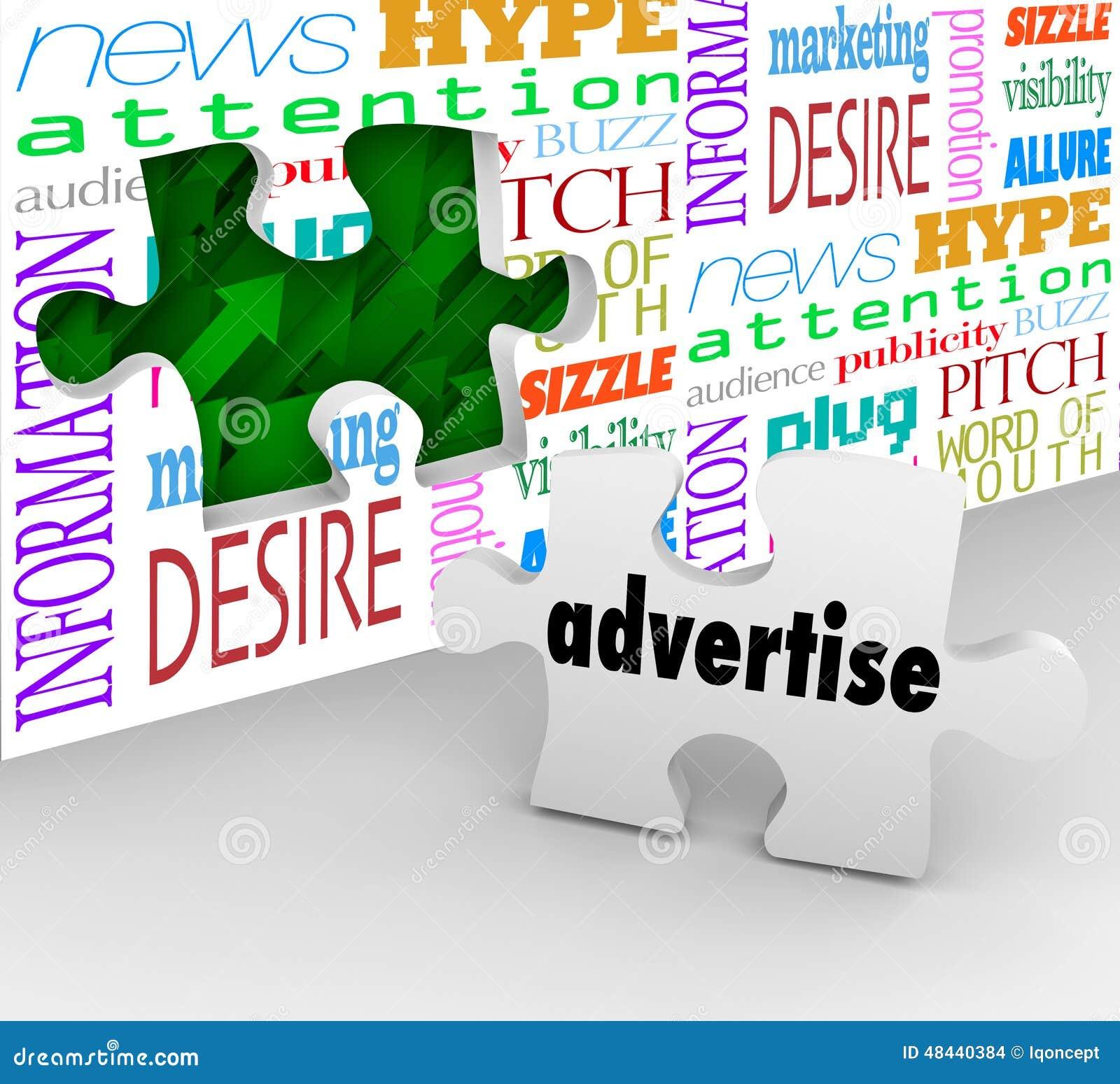 Adverteer Word de Muur van het Raadselstuk Marketing Verkopende Producten Serv