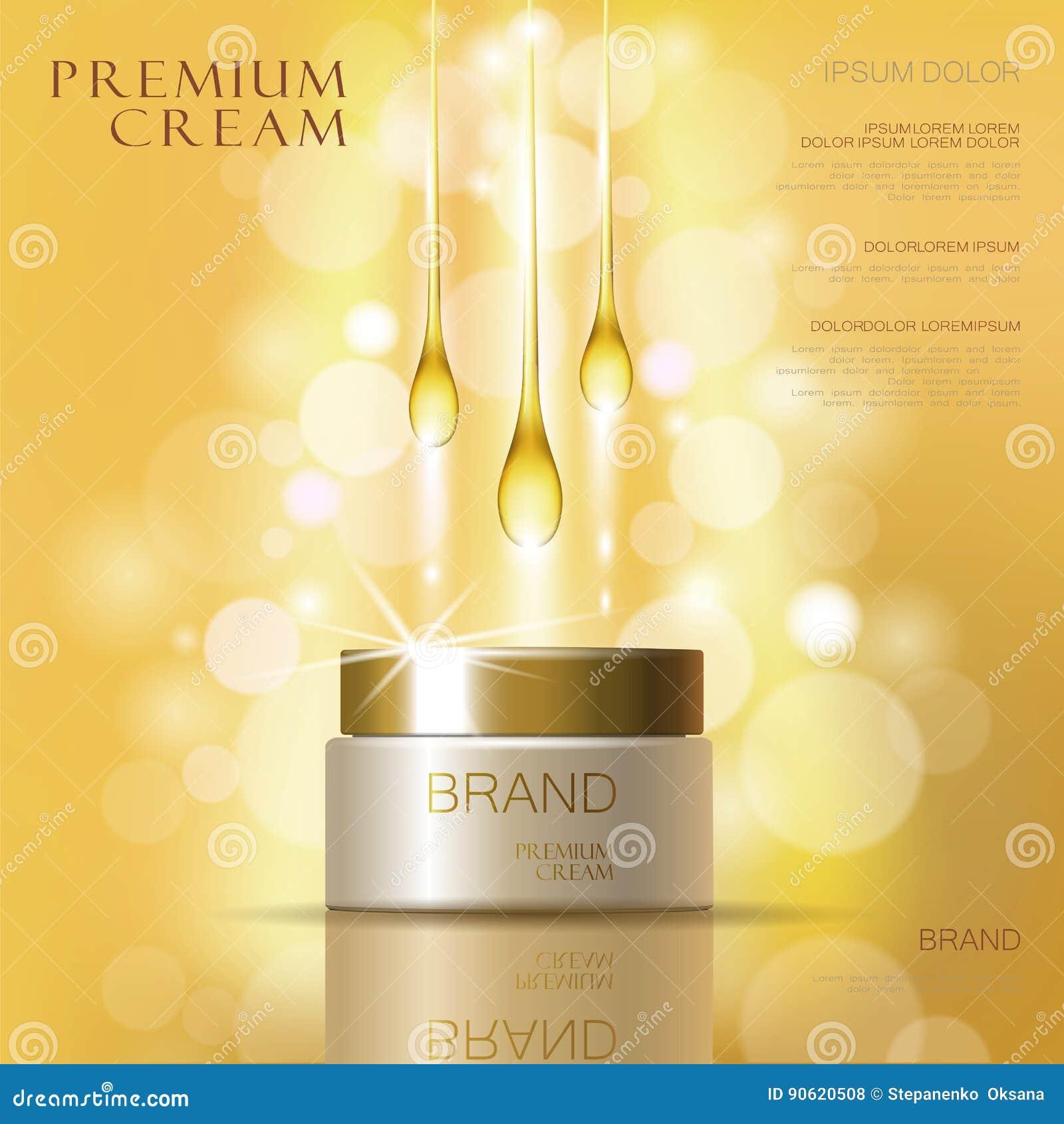 Advertenties van de de huidzorg van de gouden olie de kosmetische room Vectorillustratie van de malplaatje 3d realistische illust