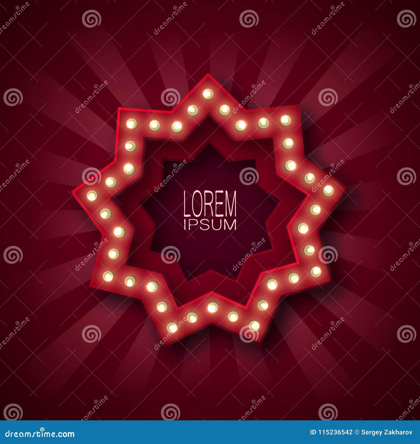 Adverterend uithangbord, banner, embleem voor het aantrekken van klanten Negen-gerichte ster met lichtgevende bollen langs de con