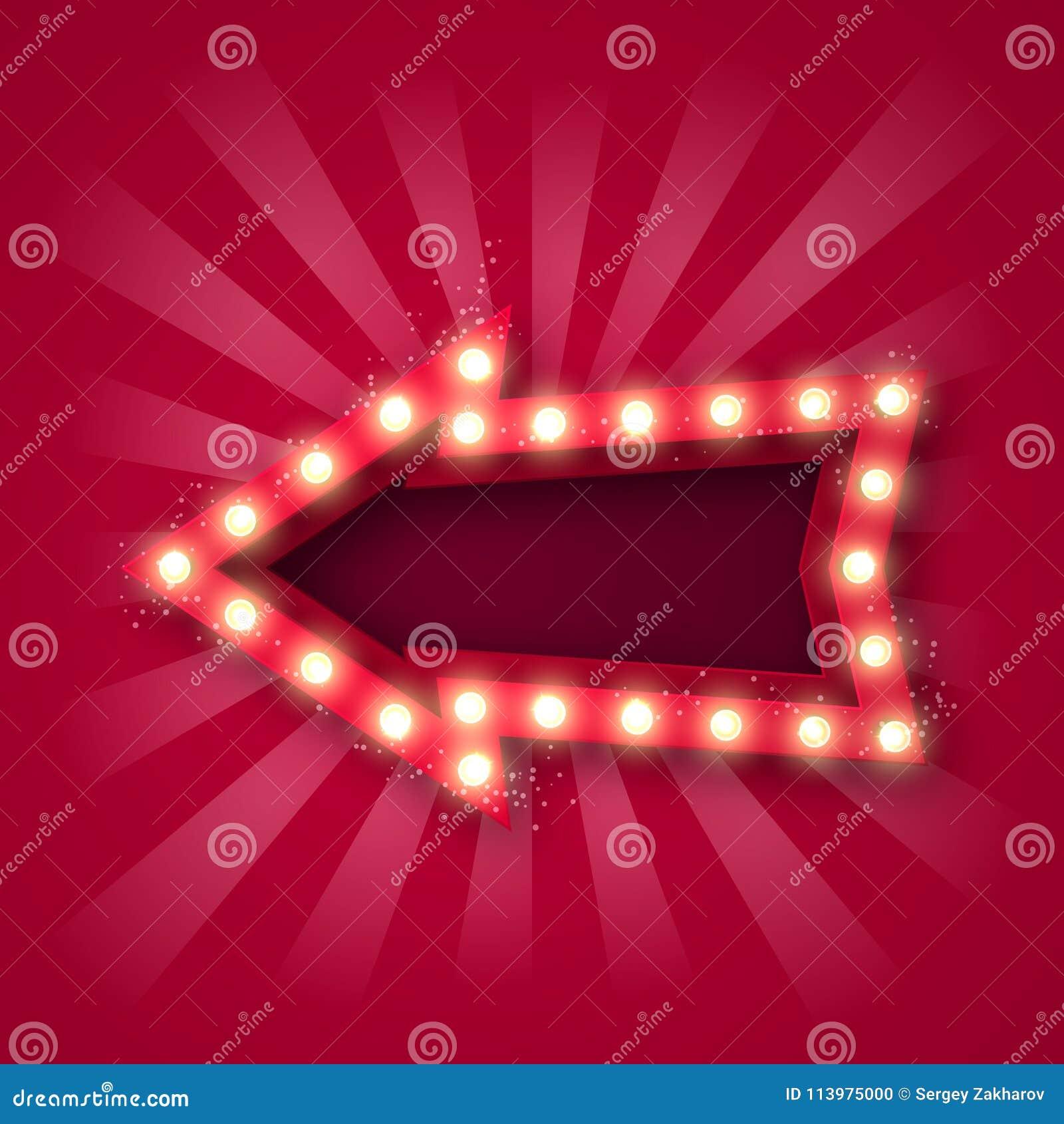 Adverterend uithangbord voor het aantrekken van klanten Pijlwijzer met bollen langs de contour, in rood-witte stralen en met love