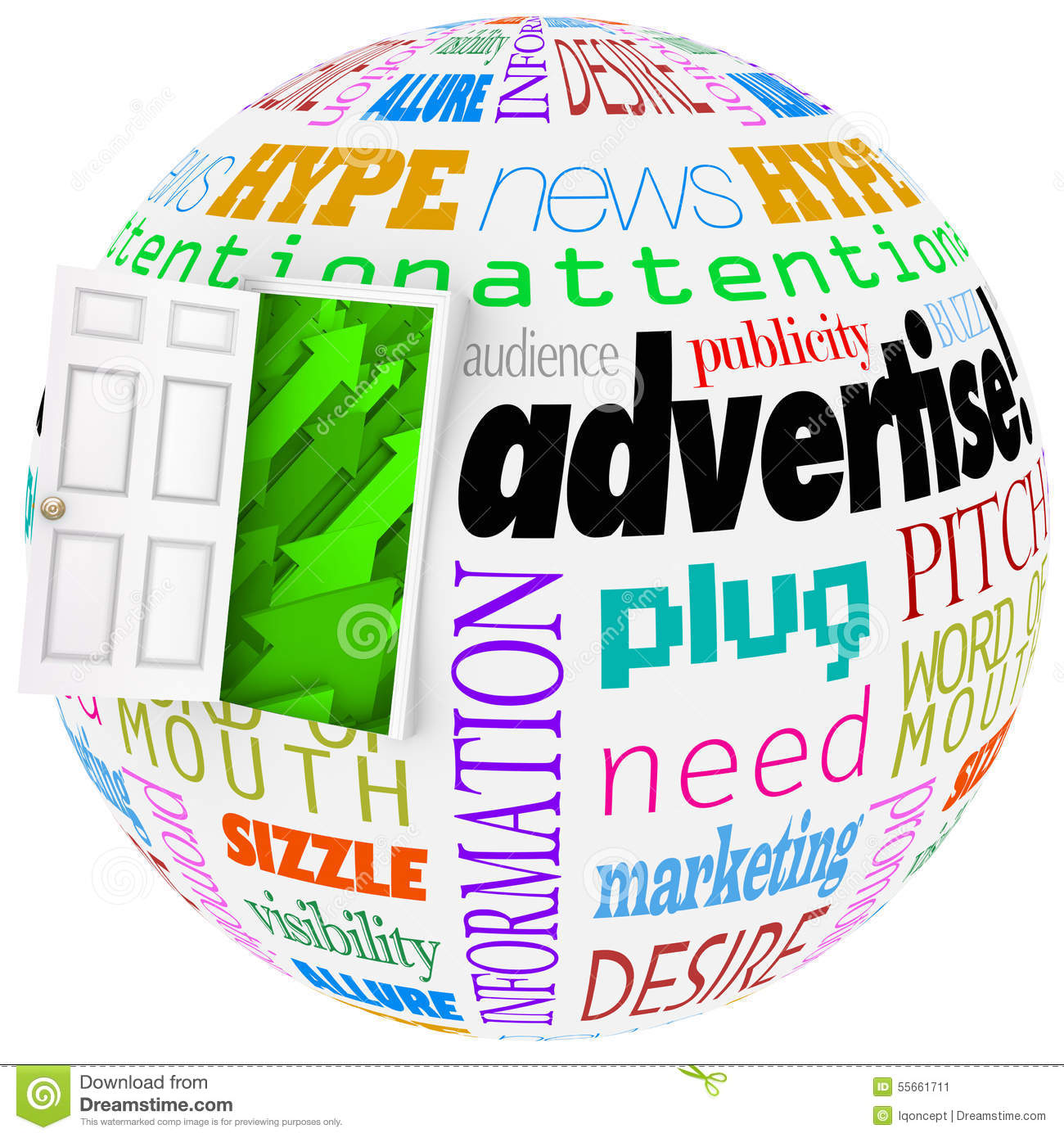 advertise marketing word globe planet business exposure growth stock