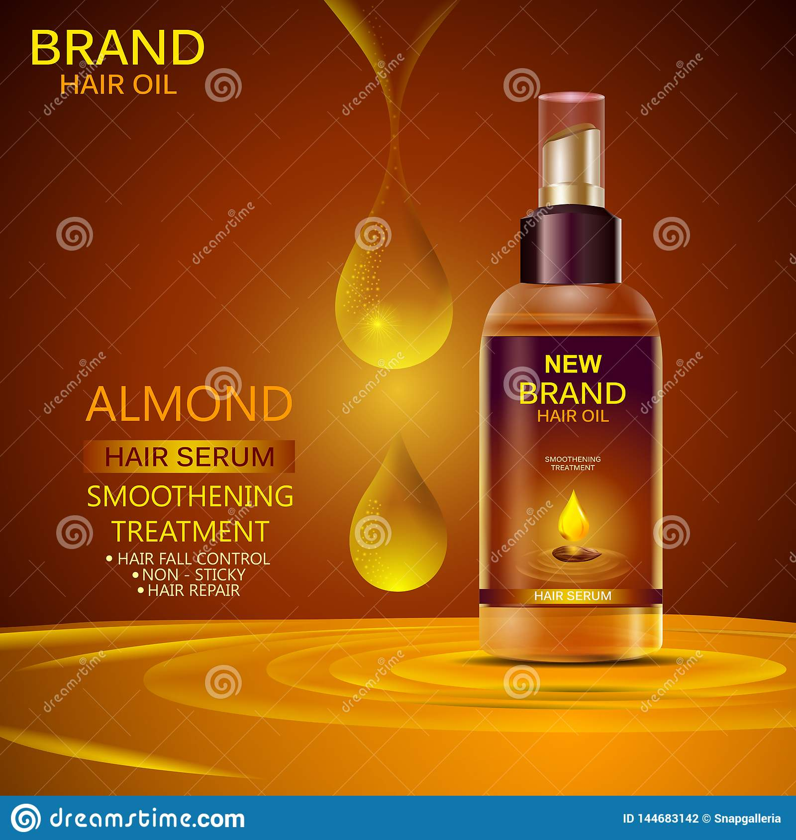 Advertisement Promotion Banner For Almond Oil Hair Serum For Smoothening And Strong Hair Stock Vector Illustration Of Nourish Design 144683142