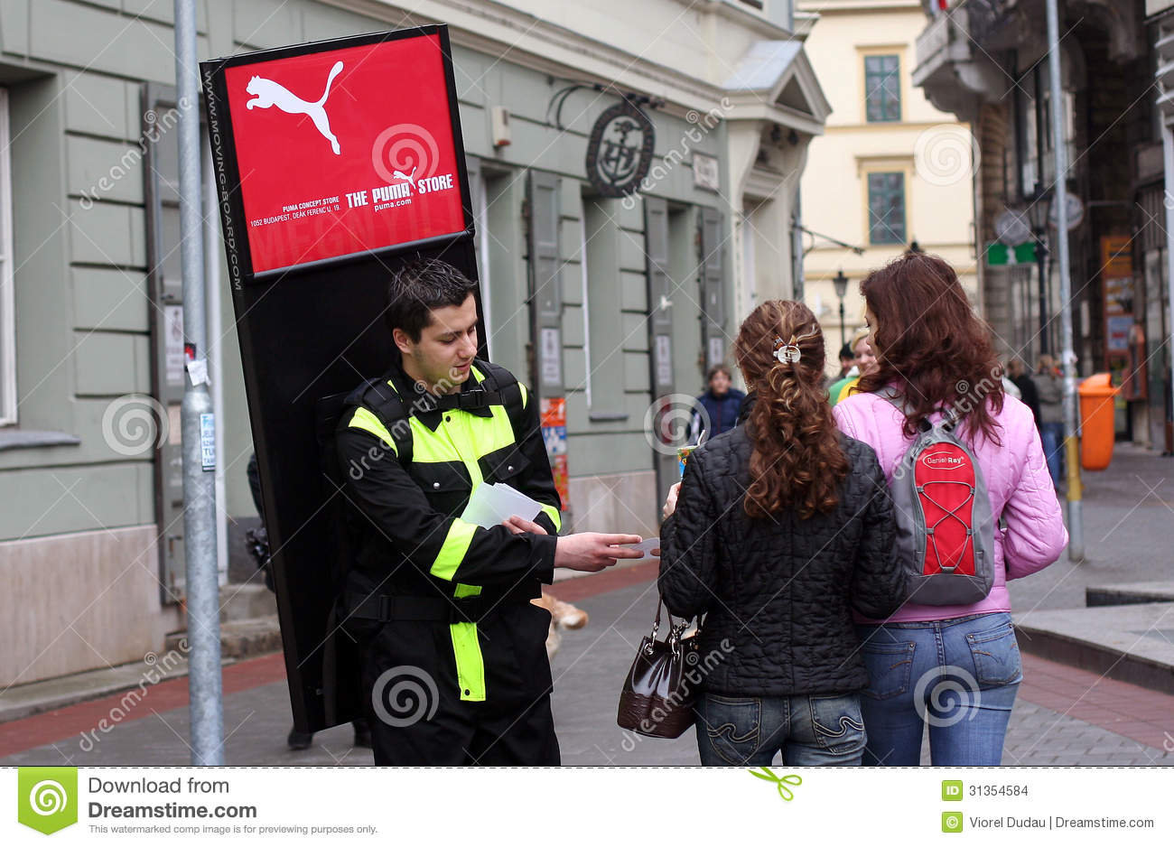 advertising agent promoter in the street editorial stock