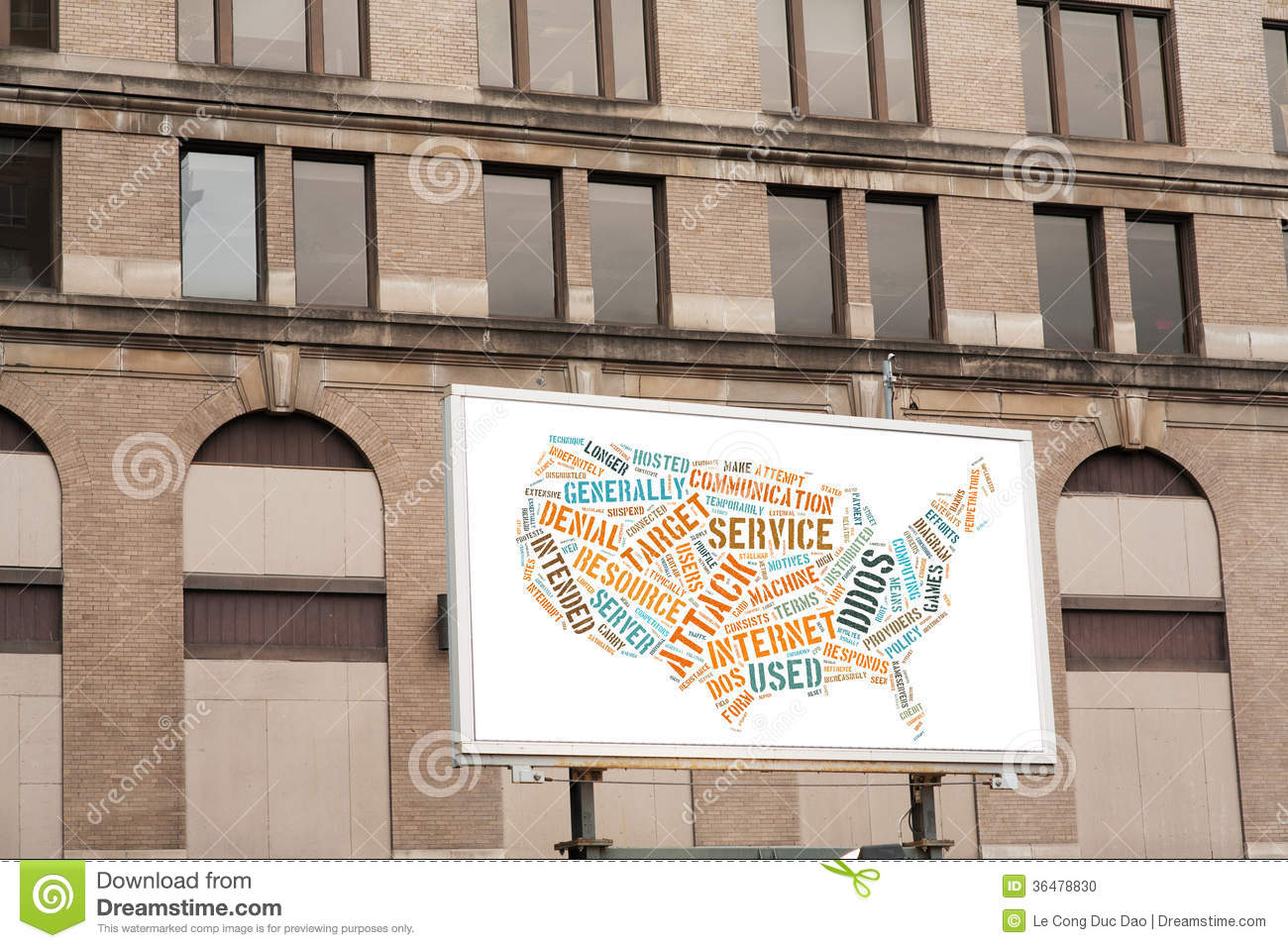 Advertising Billboard With DDOS Word Cloud Sign On Brick Wall Stock ...