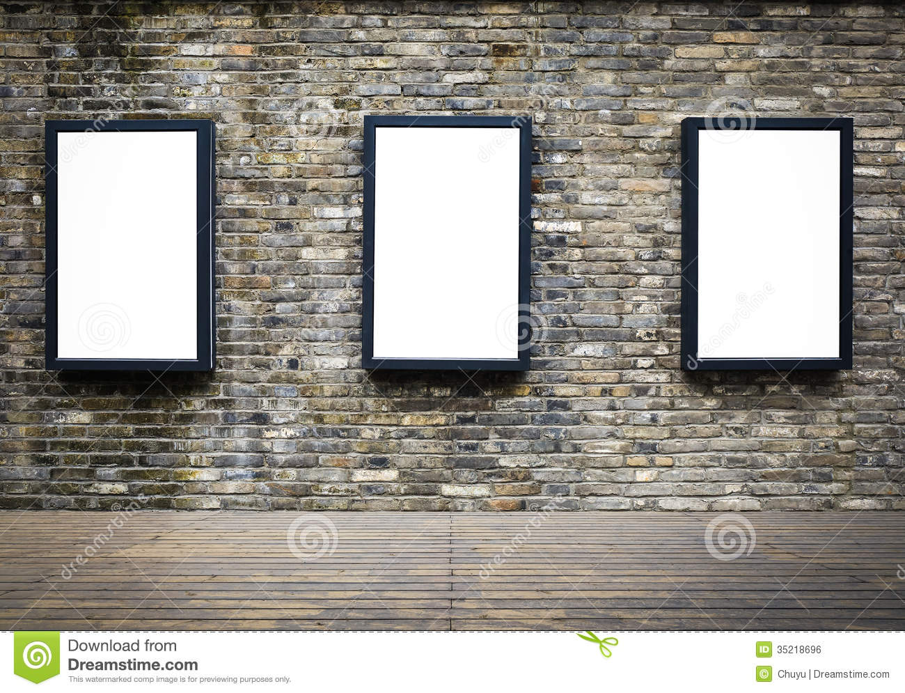 Advertising Billboard In The Old Brick Wall Royalty Free