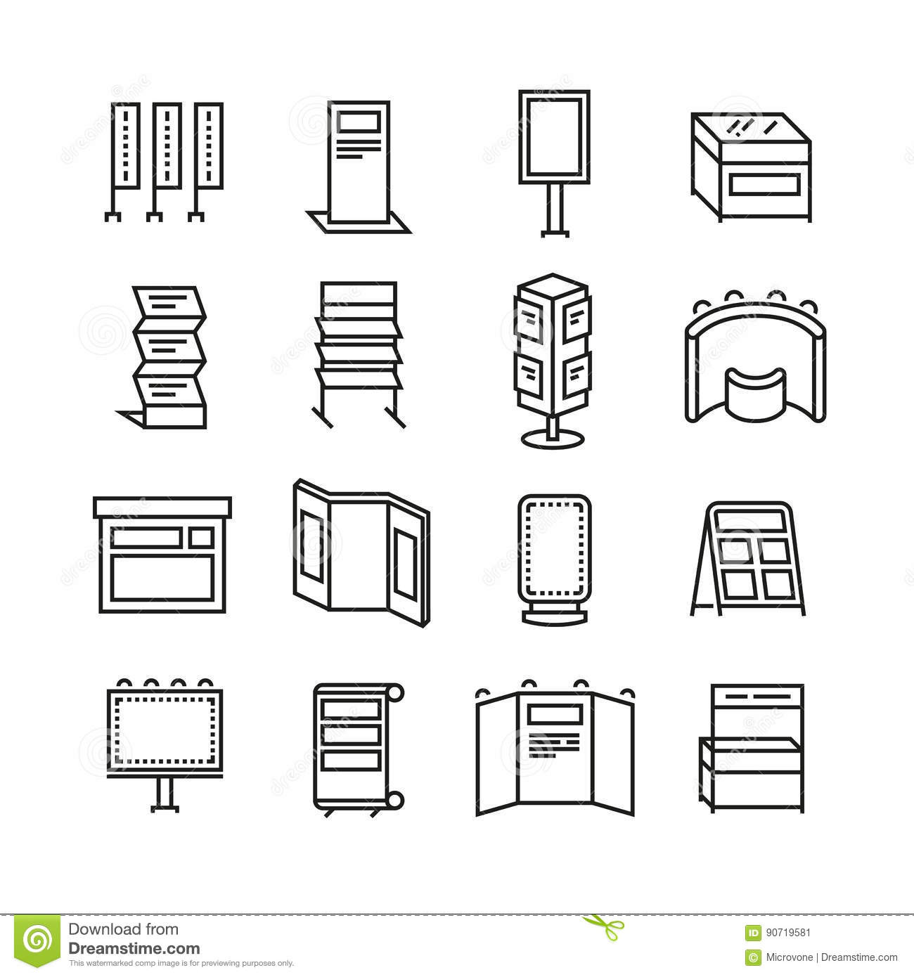 Advertising billboards and banner display, exhibition stands for trade show line icons set