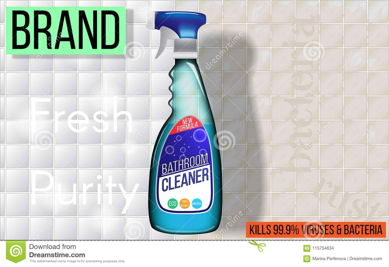 Advertising For Cleaning Solution Bathroom And Kitchen Realistic - Bathroom cleaning solution