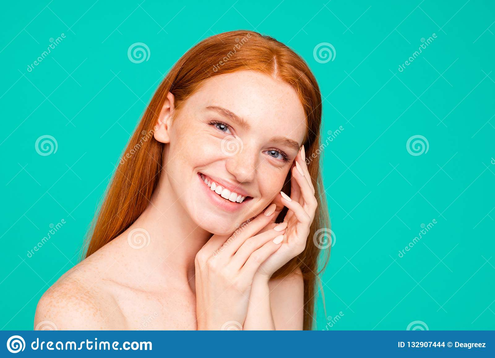 Advertising Concept Cheerful Nude Natural Red Girl, Shiny Pure Stock Photo - Image Of -4608