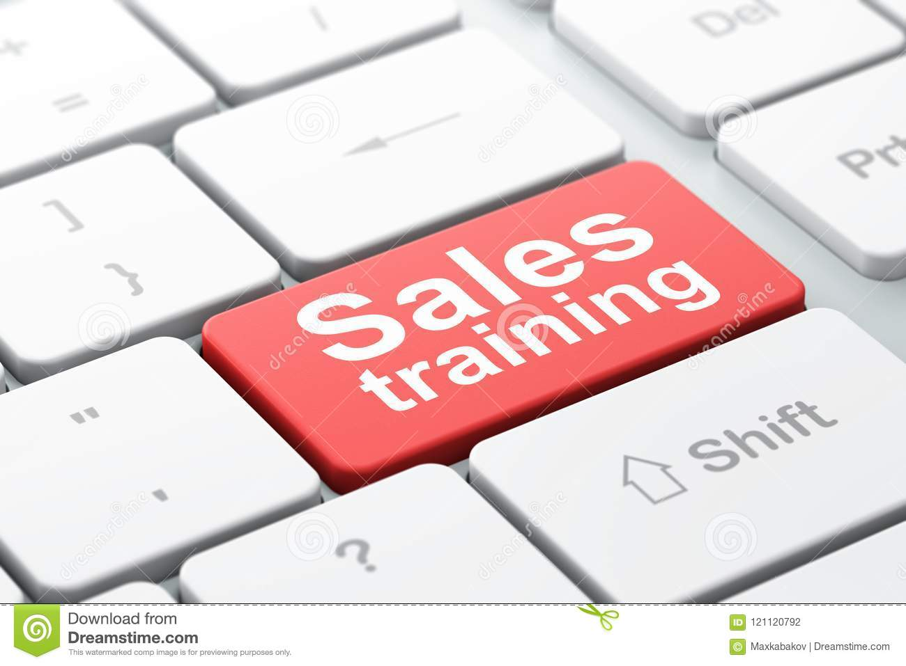 advertising concept sales training on computer keyboard background