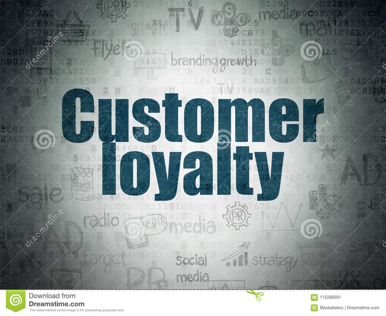 Advertising concept: Customer Loyalty on Digital Data Paper background