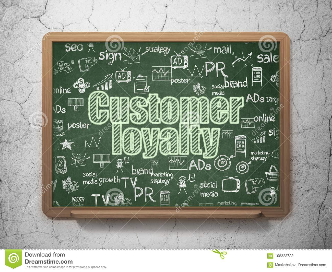 Advertising concept: Customer Loyalty on School board background