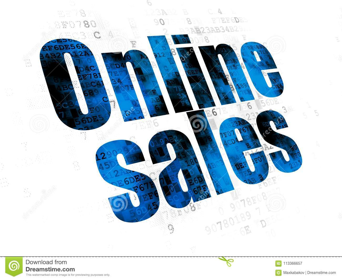 Advertising Concept: Online Sales On Digital Background Stock