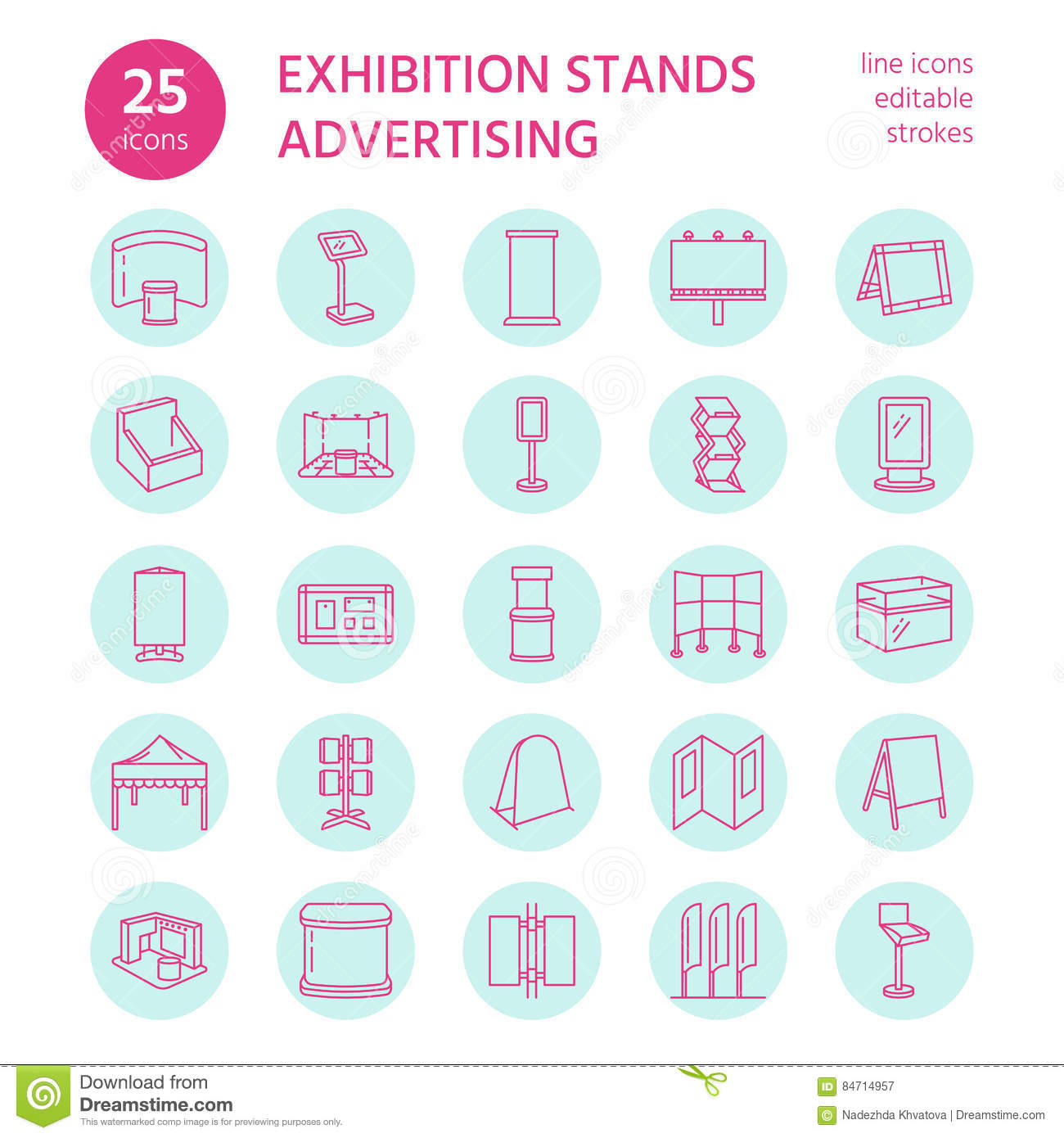 Advertising Exhibition Banner Stands Display Line Icons
