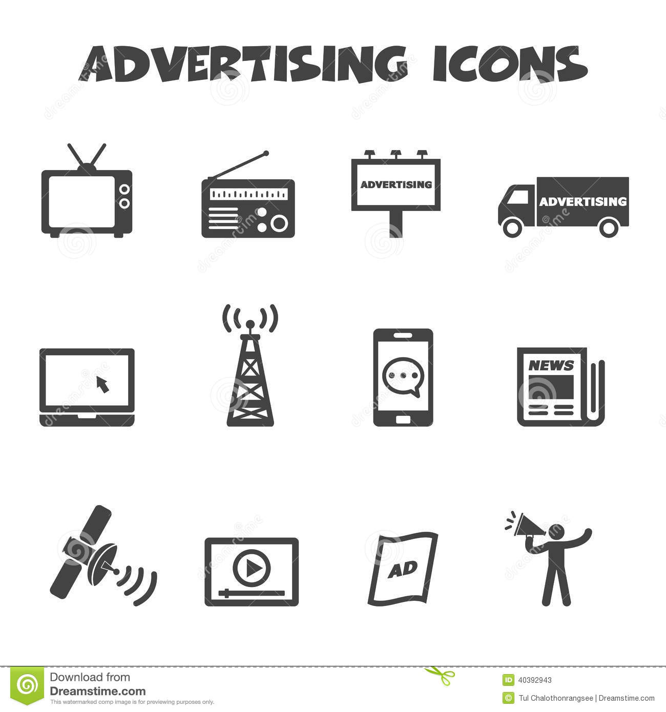 Advertising Icons Stock Vector - Image: 40392943