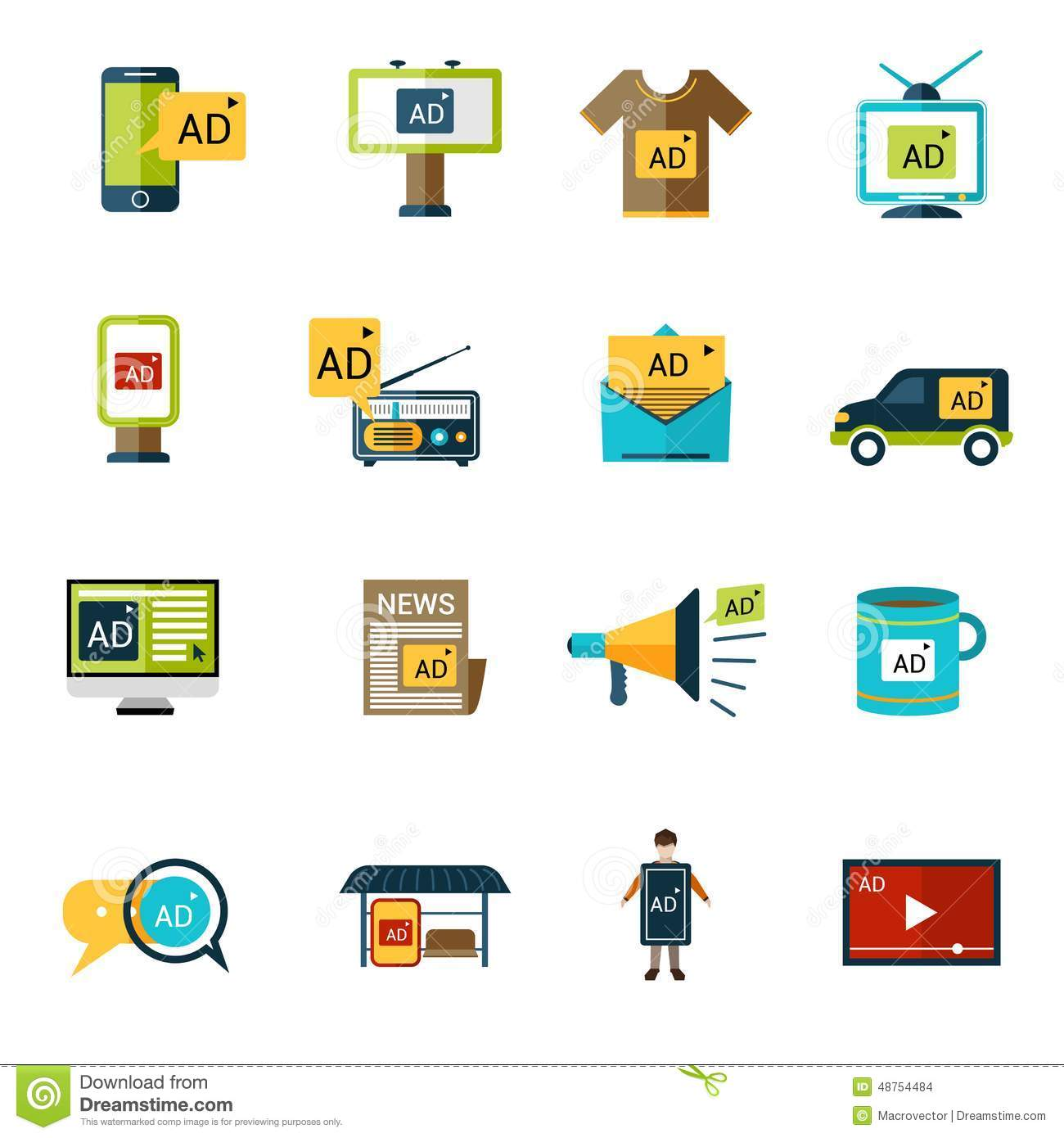 Advertising Icons Set Stock Vector - Image: 48754484