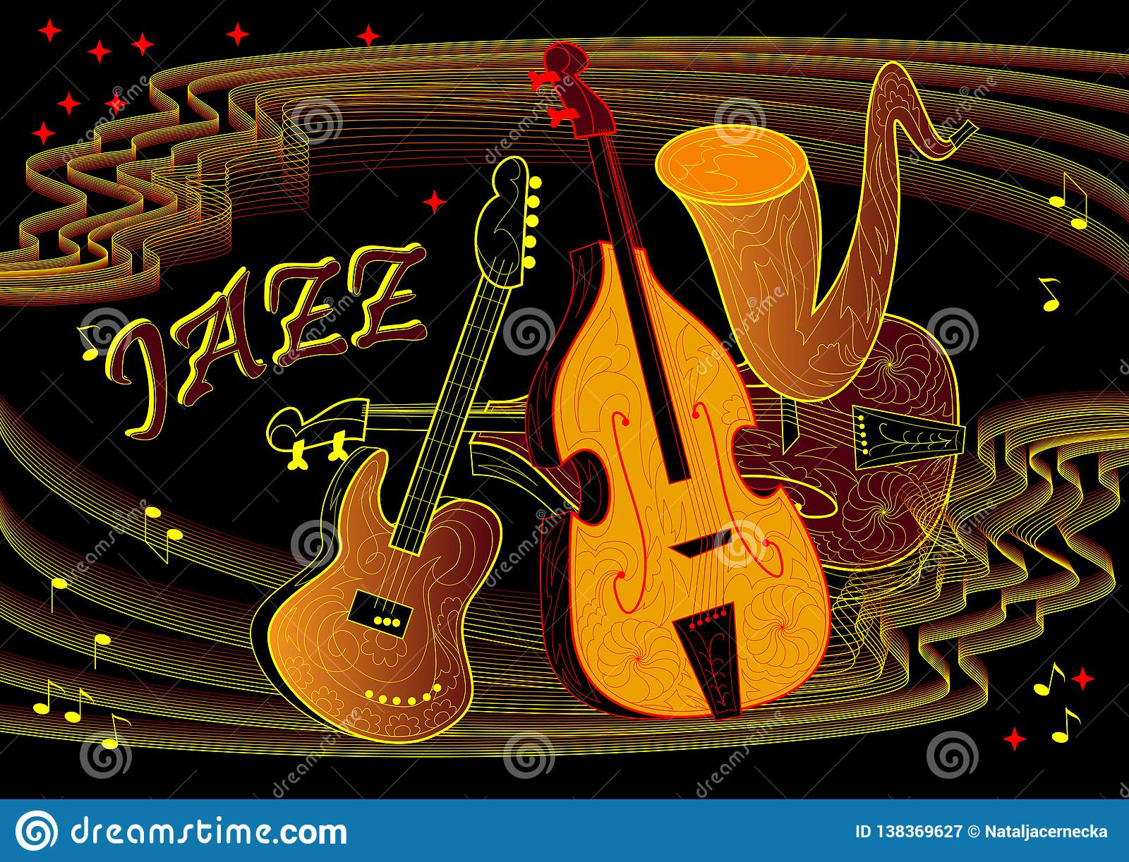 Advertising Of Jazz Concert On Black Background. Poster ...