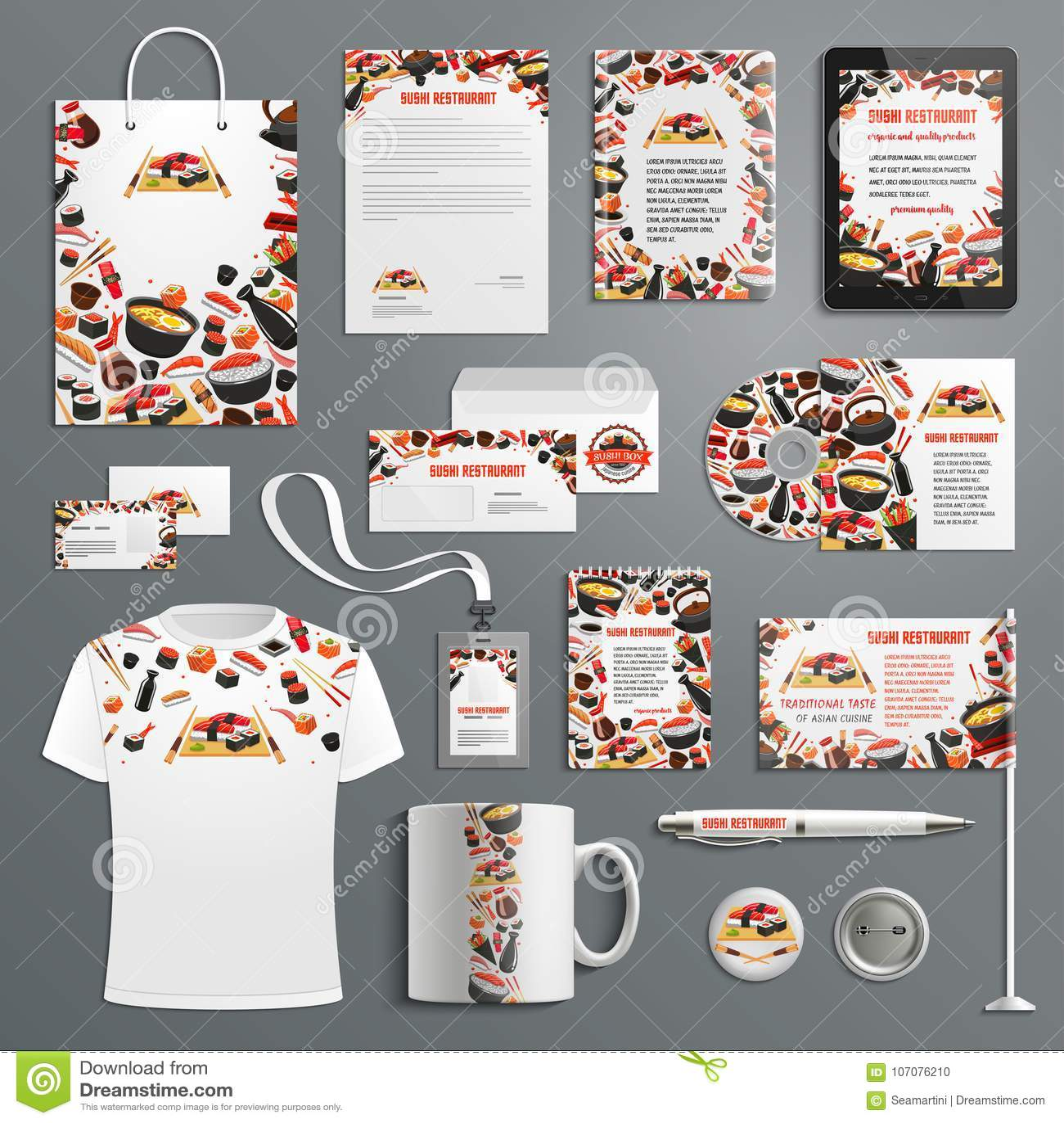 Advertising Promo Vector Items Japanese Cuisine Stock Vector