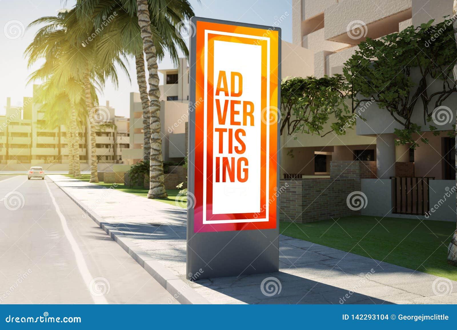 Advertisingon vertical do quadro de avisos a rua