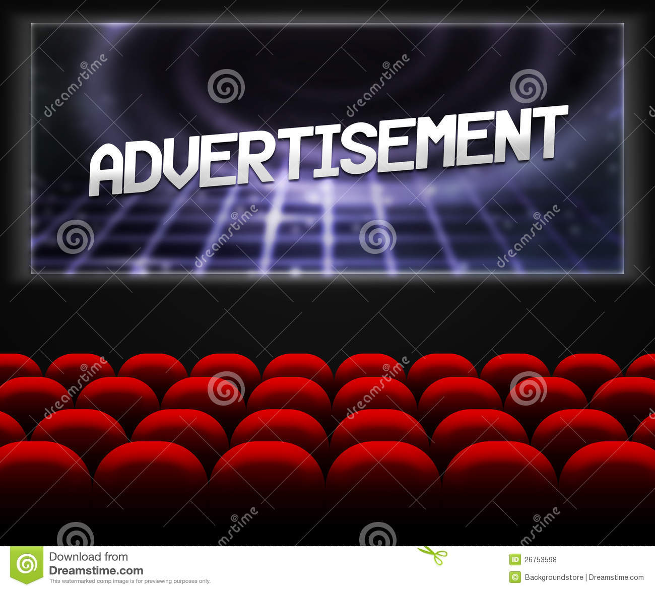 advertisment in cinema background stock illustration illustration