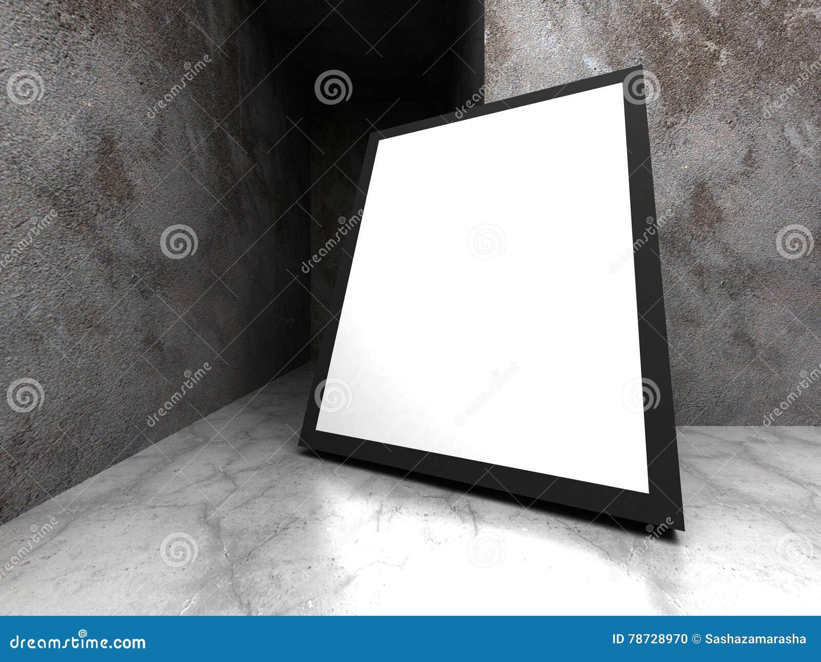 Advertizingaffischtavla i mörkt betongväggrum