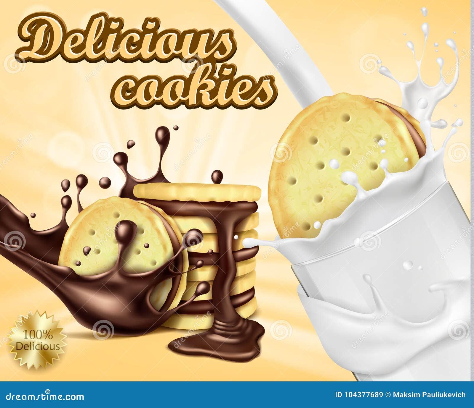 Advertizingbaner för chokladsmörgåskakor