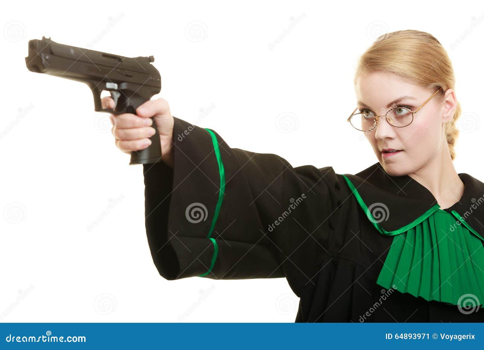 Advogado da mulher com arma da arma crime