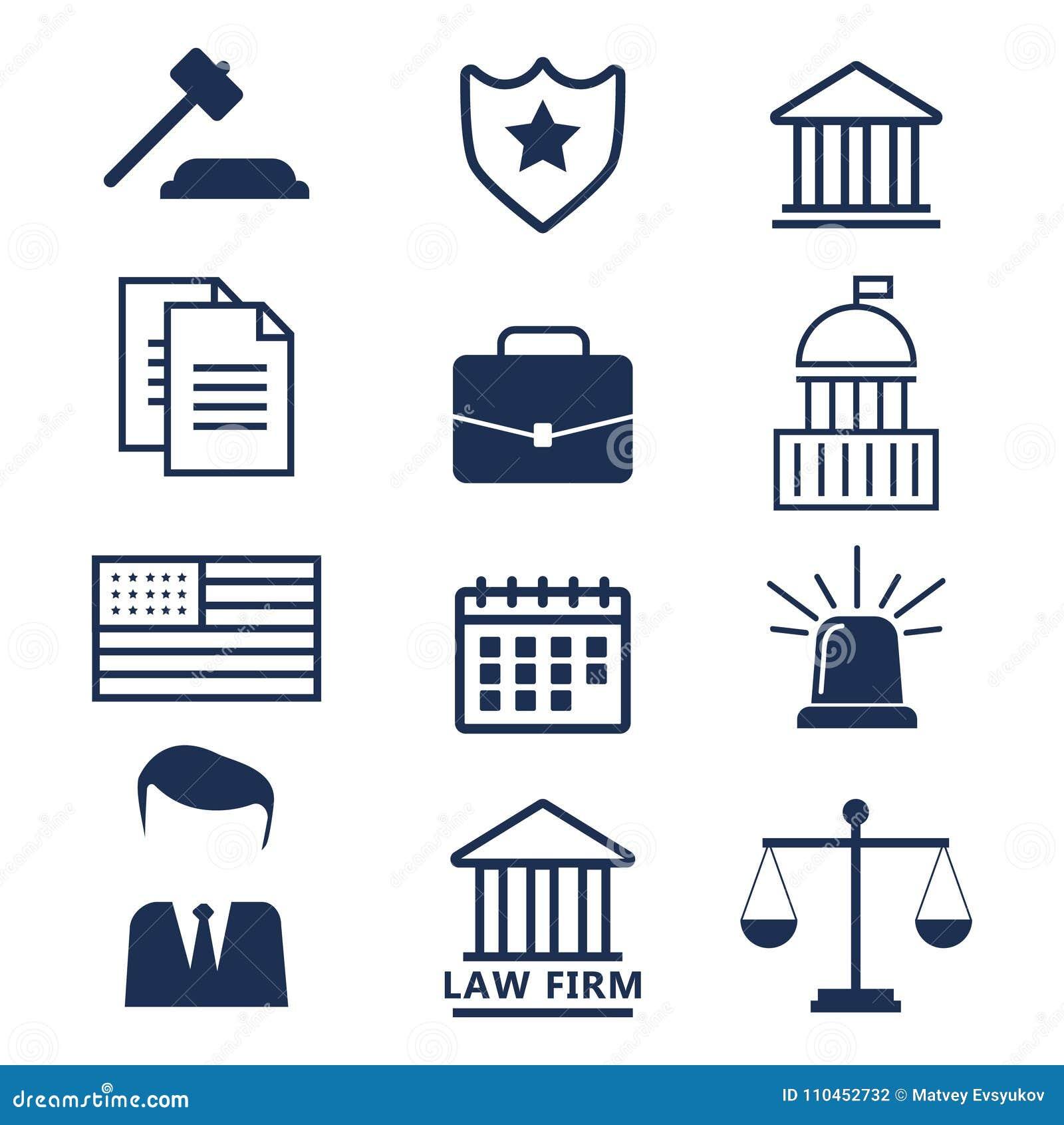 Advokatbegrepp Advokatsymboler i plan stil Advokattecken och symb