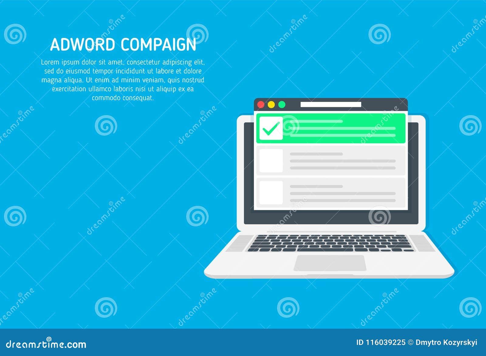 Adword aktion, sökandemarknadsföring, PPC-advertizingbaner med symboler och texter Vektorbegrepp med den plana illustrationen