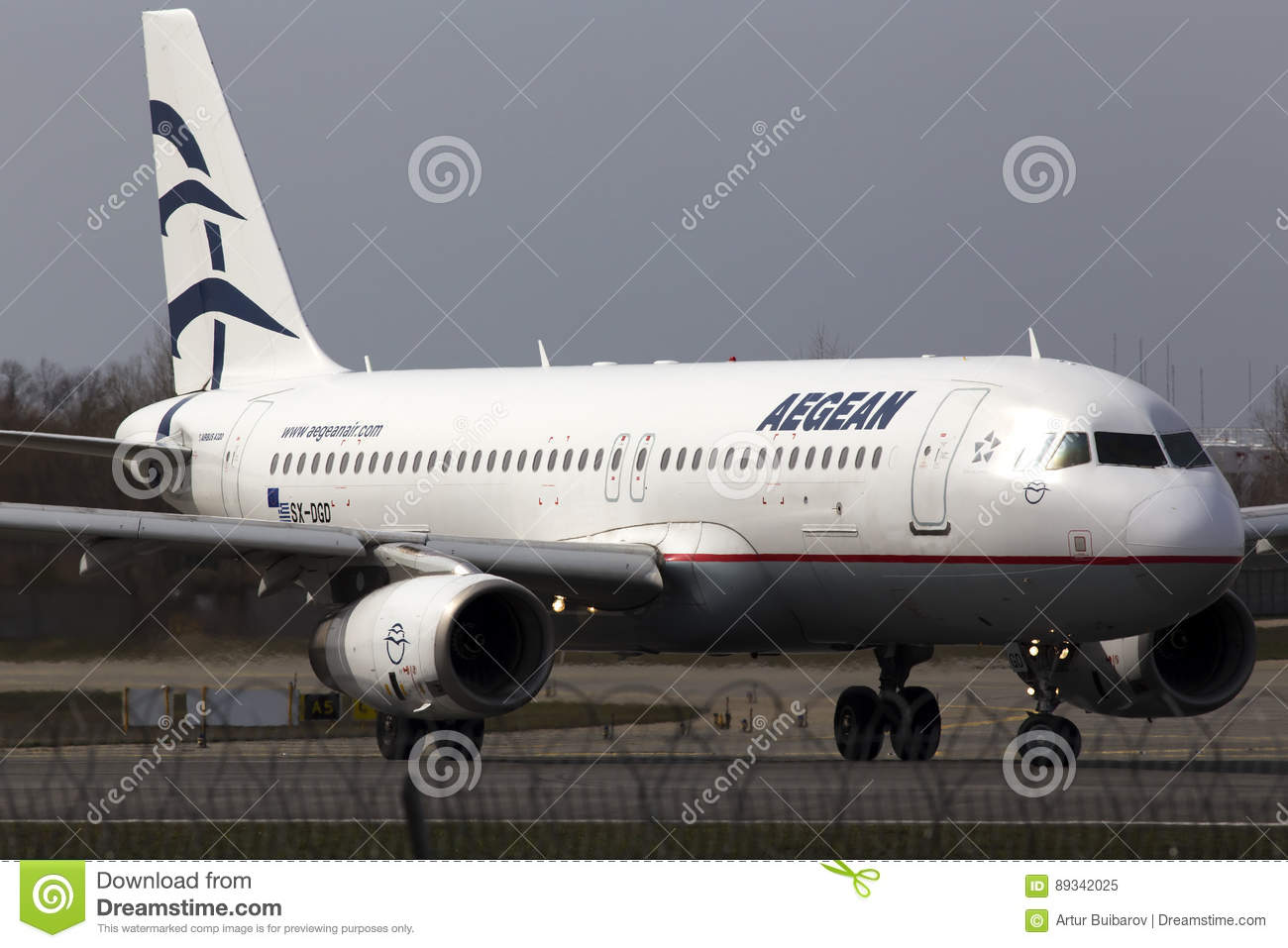 Aegean Airlines Airbus A320-200 aircraft running on the runway