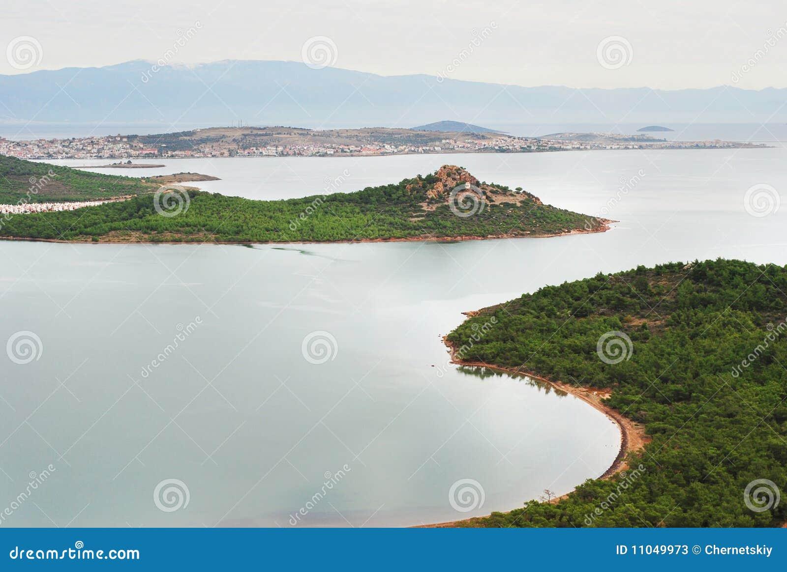 Aegean kustlinjemorgonhav