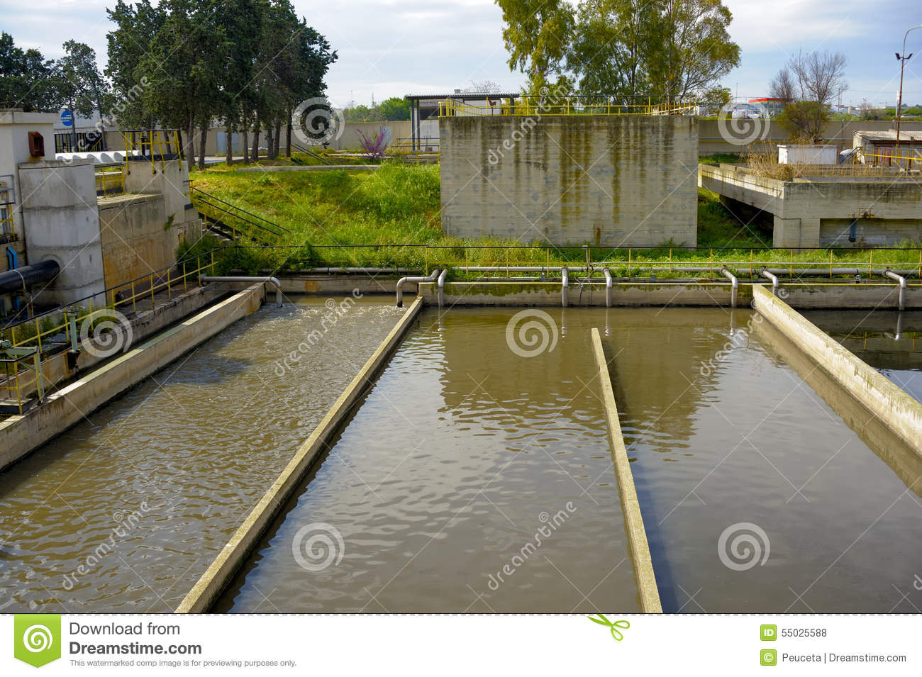 Aerated Activated Sludge Tank Stock Photo - Image of