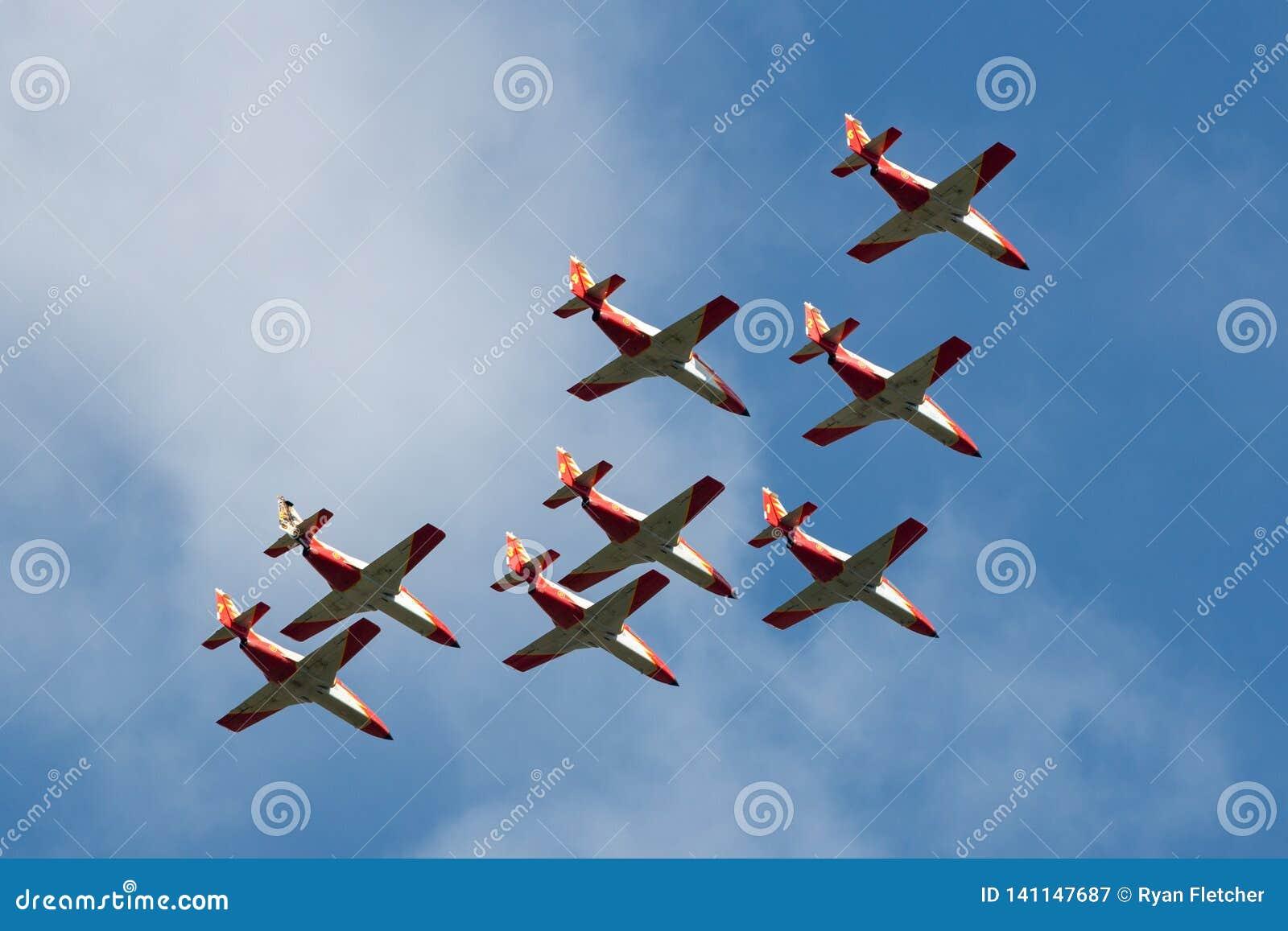 Aerei di istruttore spagnoli del getto della CASA C-101EB Aviojet dell Aire del di Ejercito dell aeronautica dell esposizione acr