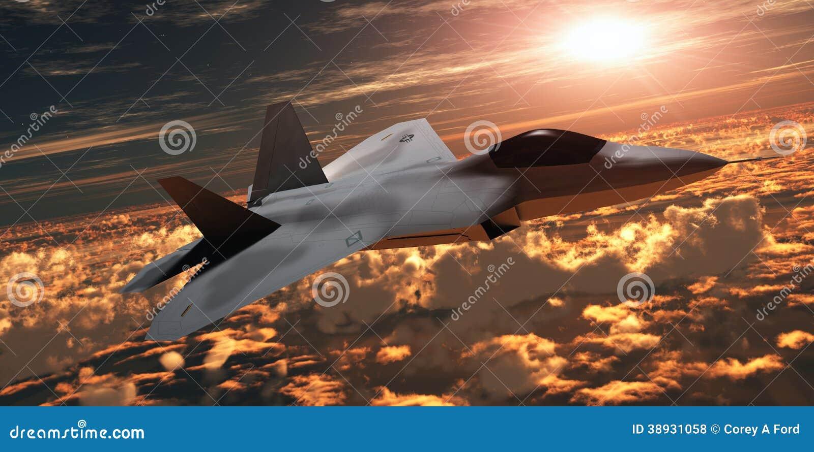 Aereo Da Caccia F 22 Raptor : Aereo da caccia f al tramonto illustrazione di stock