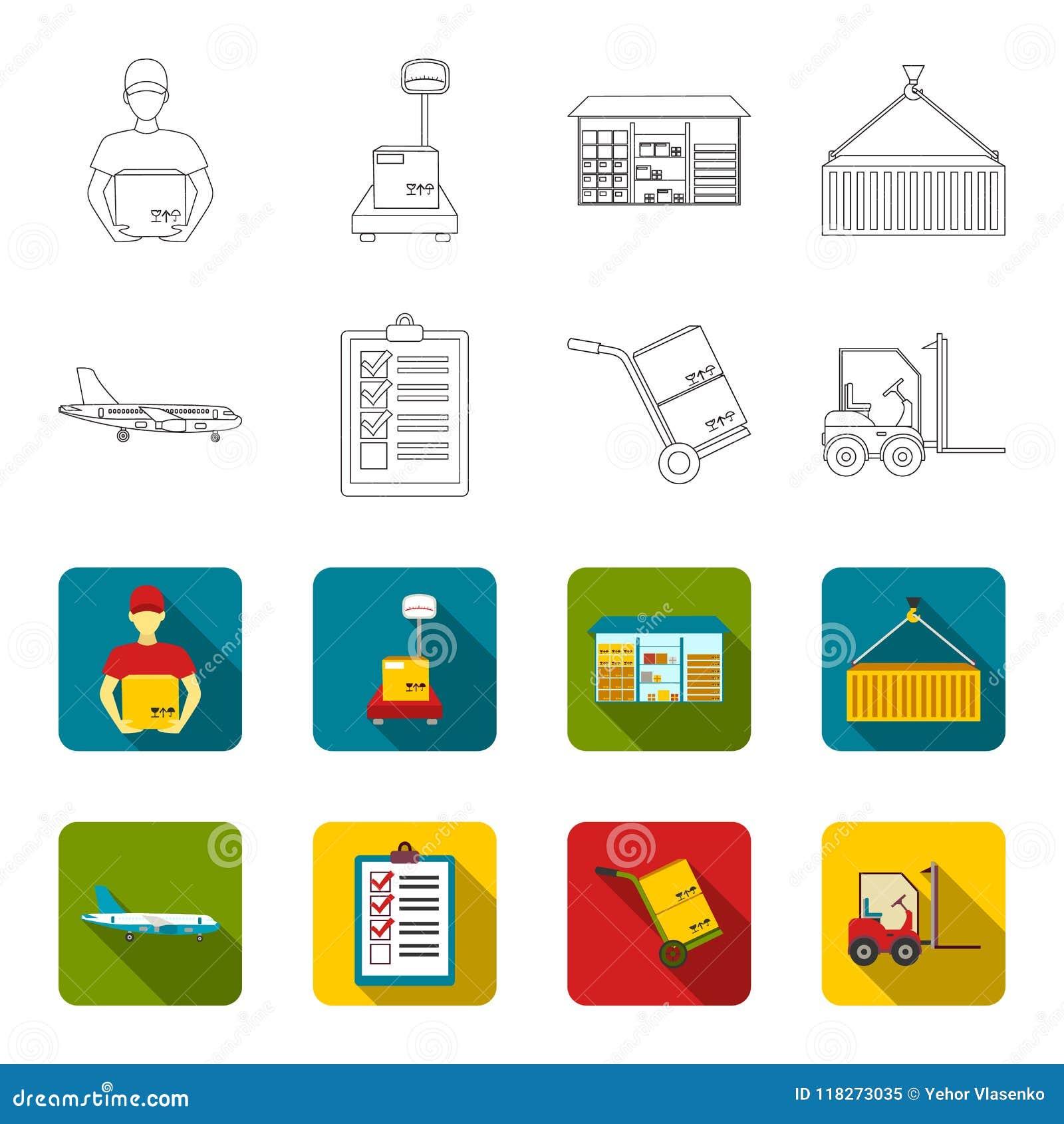 Aereo da carico, carretto per trasporto, scatole, carrello elevatore, documenti Logistico, metta le icone della raccolta nel prof