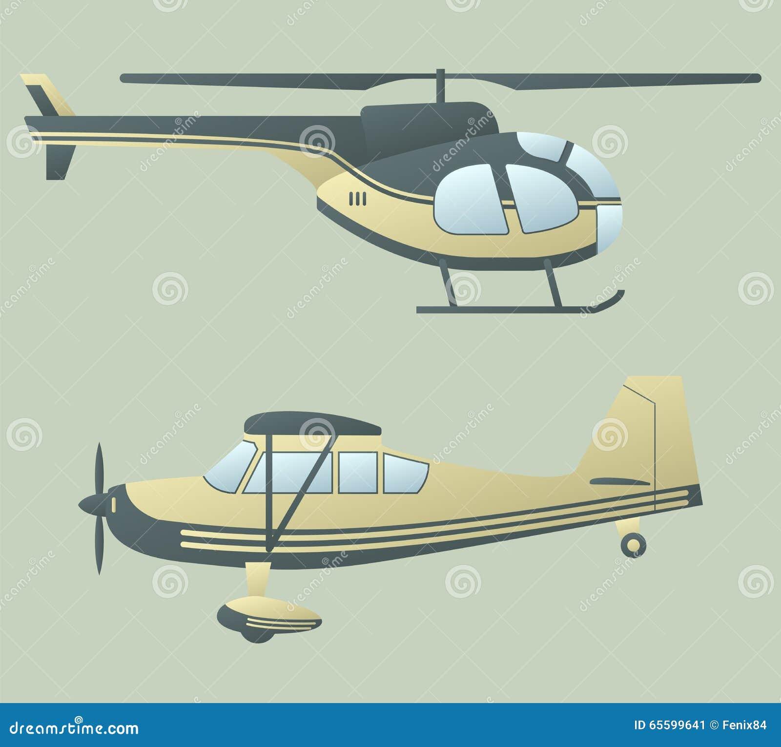 Aereo Ed Elicottero Illustrazione Vettoriale Illustrazione Di Verde