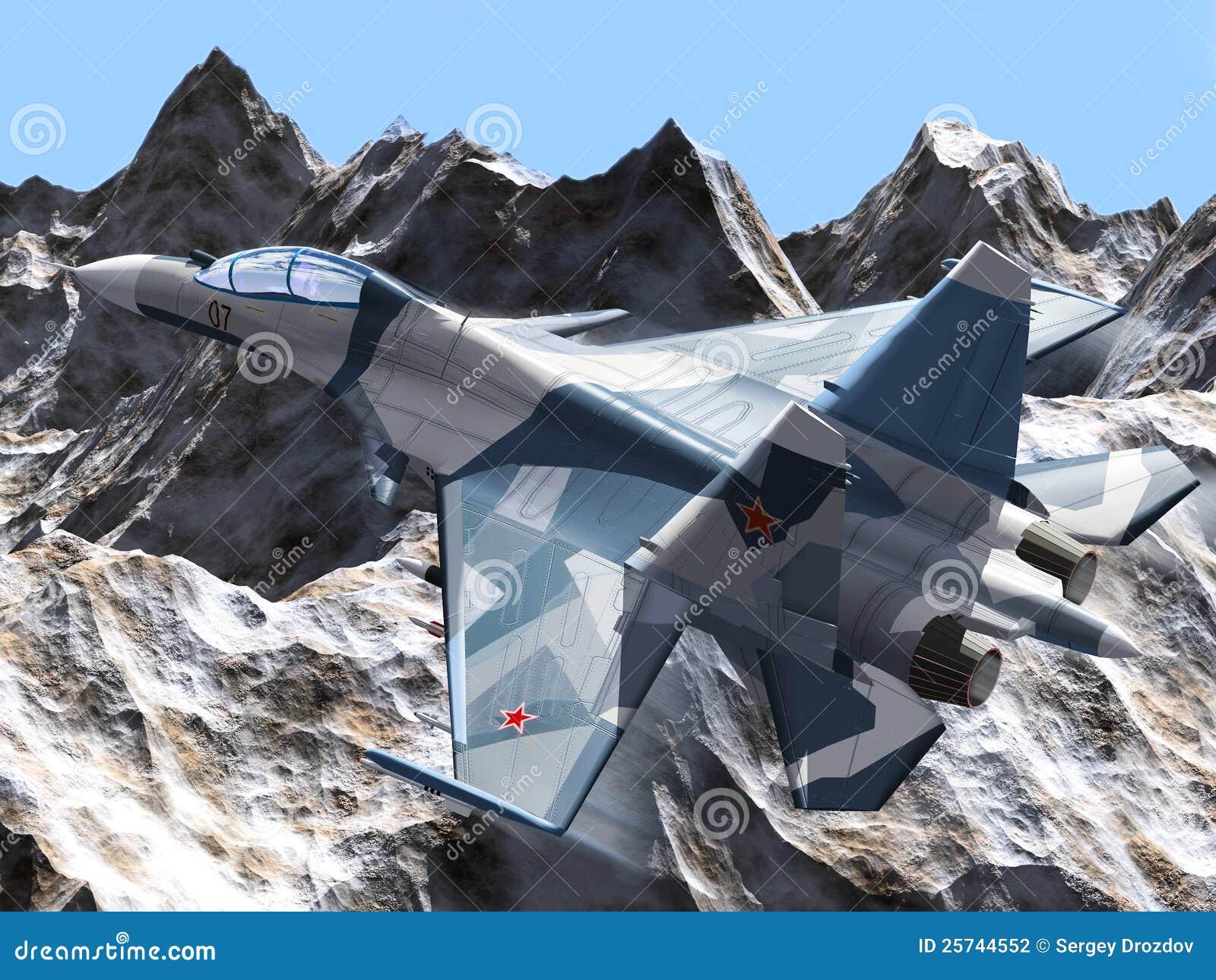 Aereo Da Combattimento Russo : Aereo russo di combattimento illustrazione stock