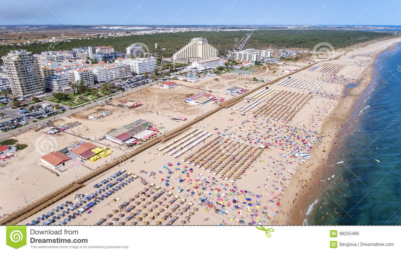 Download Aerial. Amazing Beach Of Monte Gordo Is Taken From Sky By Drones Portugal Editorial Photo - Image of outdoor, blue: 98255466