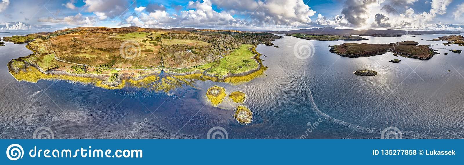 Aerial autumn view of Dunvegan Castle, Isle of Skye