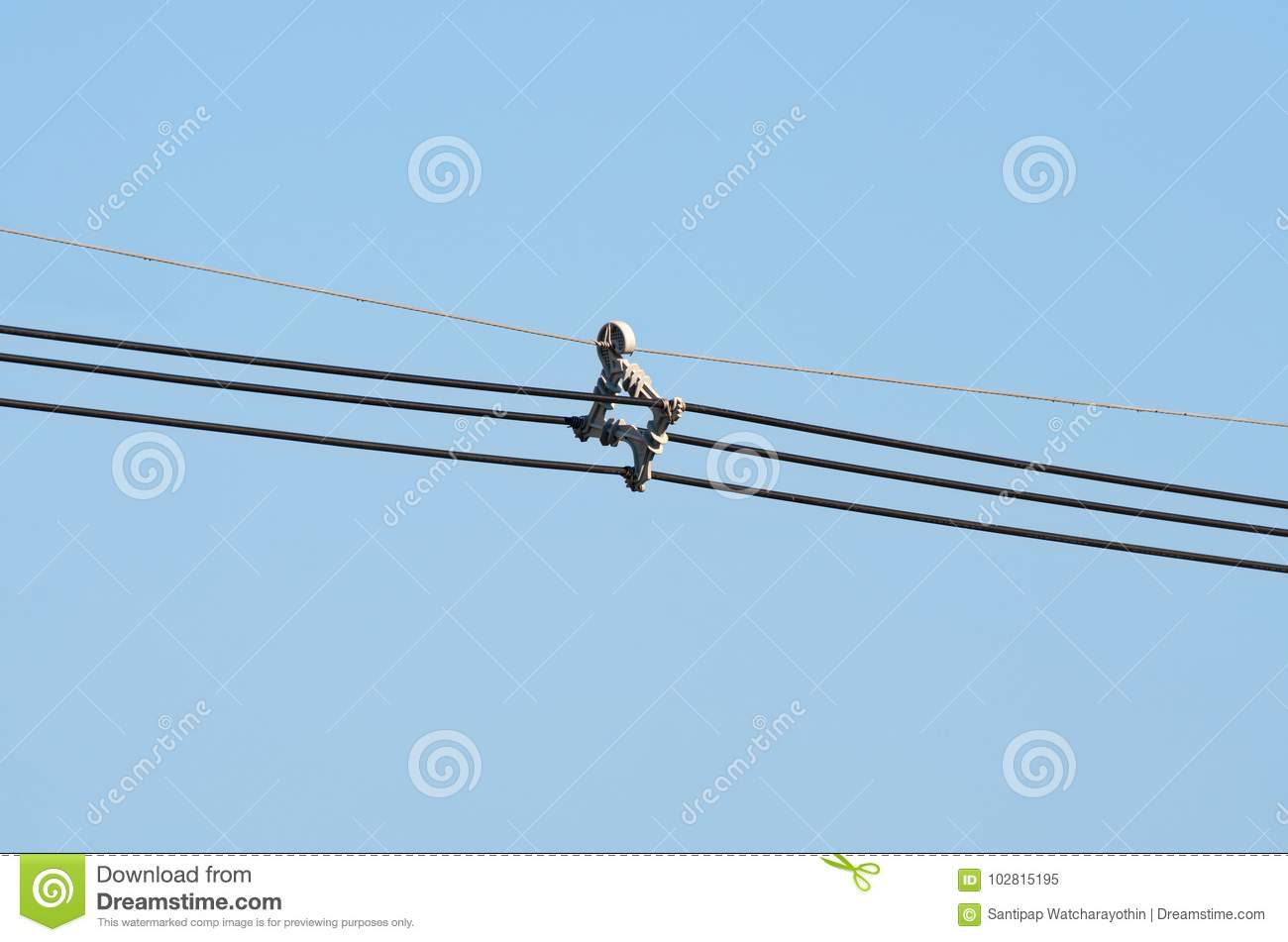 High Voltage Transmission Line Cable : Aerial cable spacer system stock image of holder