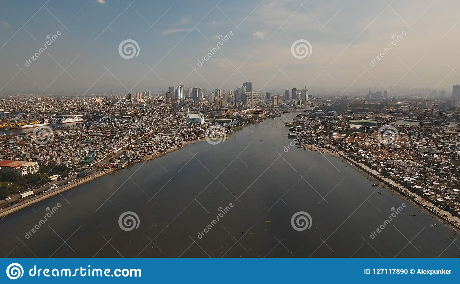 Aerial city with skyscrapers and buildings. Philippines, Manila, Makati.