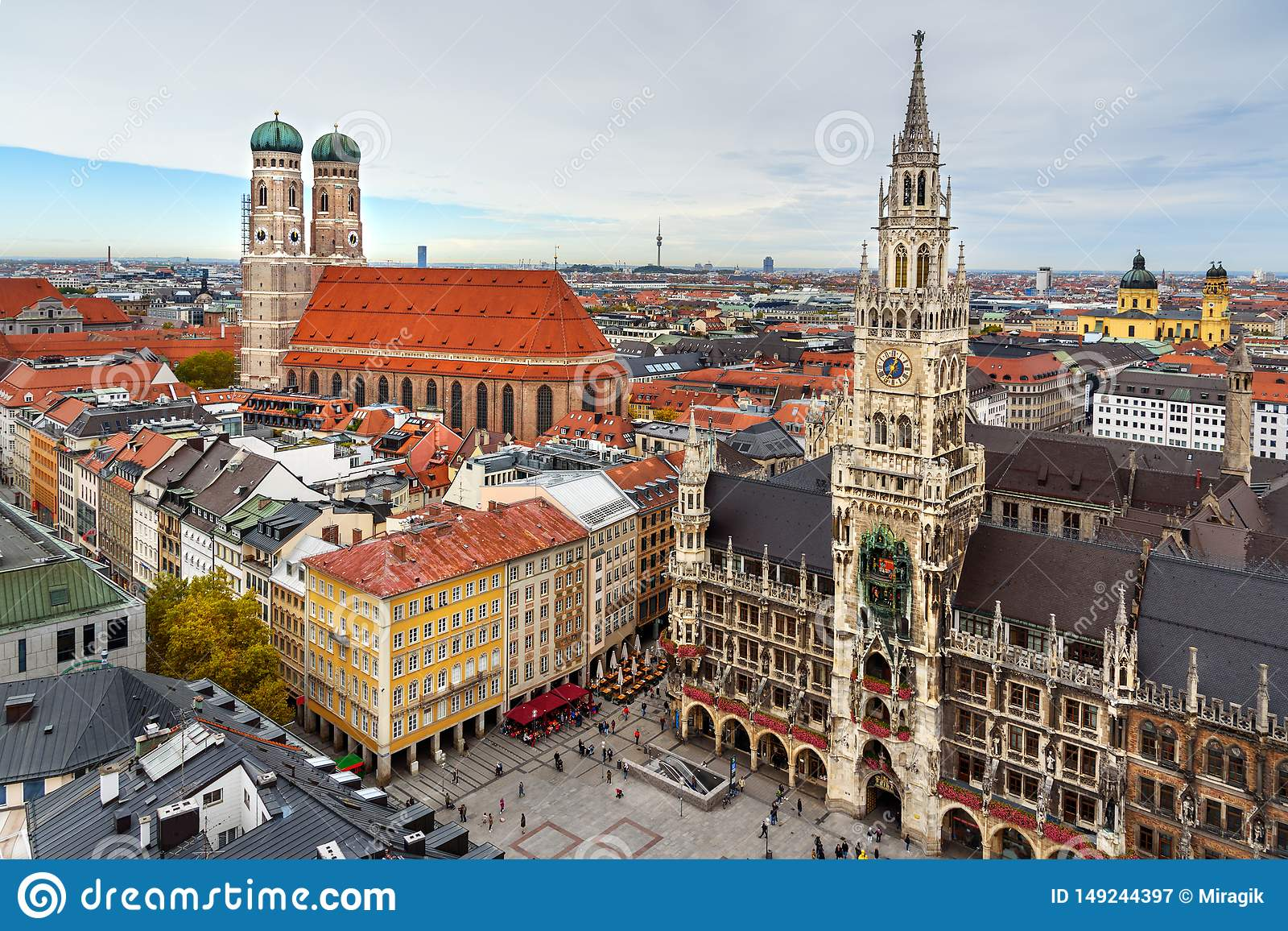 Aerial Cityscape Of Munich Historical Center With New Town