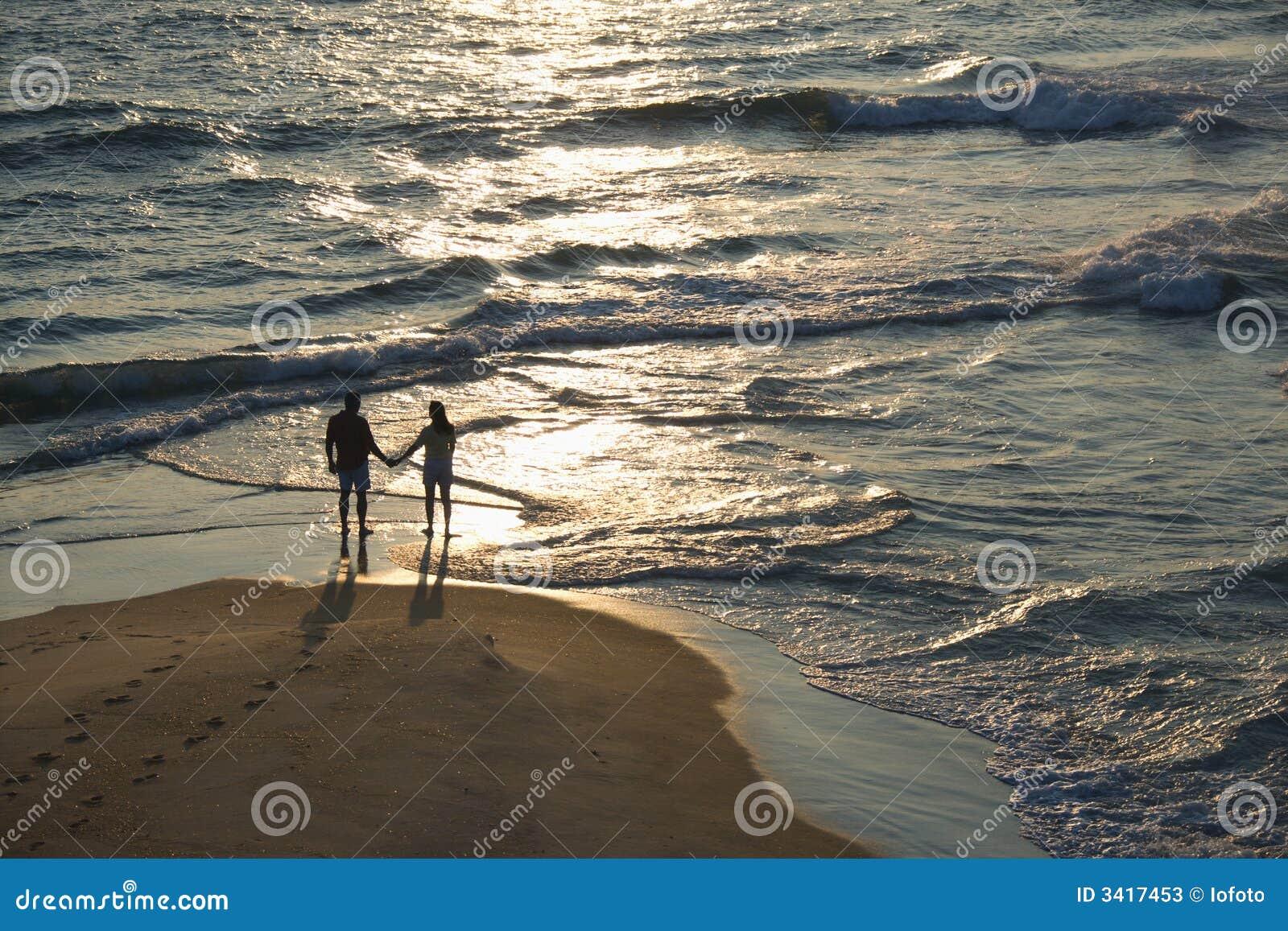 Aerial of couple on beach.