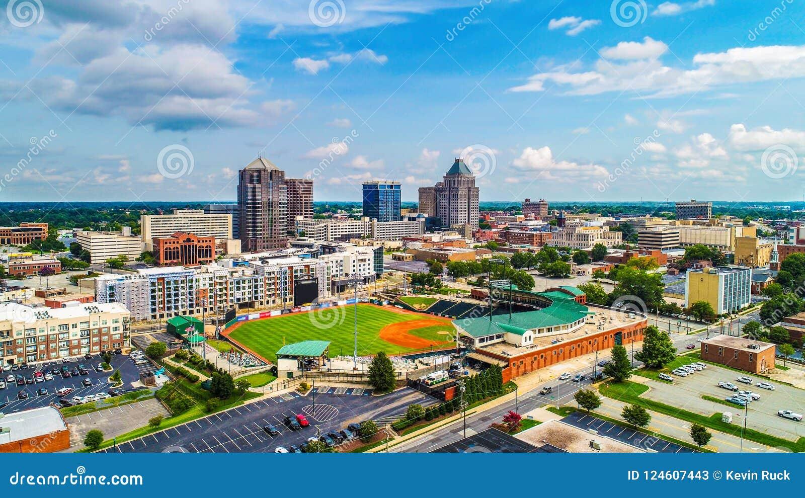 Aerial of Downtown Greensboro North Carolina NC Skyline