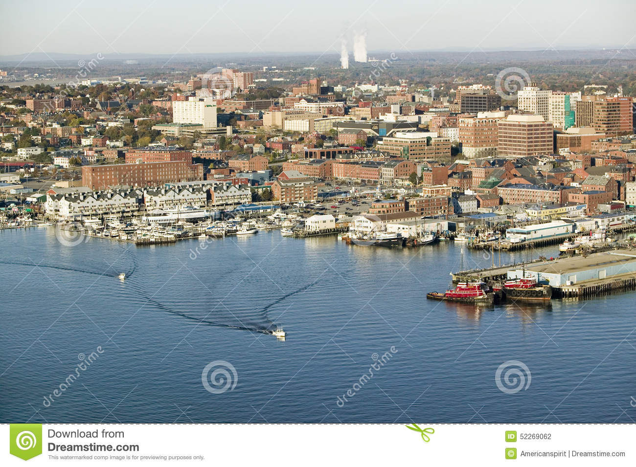 aerial of downtown portland harbor and portland maine with view of maine medical center. Black Bedroom Furniture Sets. Home Design Ideas